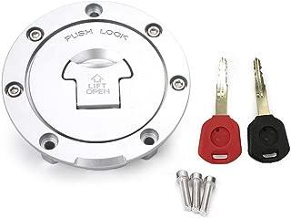 GZYF Motorcycle Gas Tank Cover Fuel Tank Cap Lock Key for Honda CBR600RR 03-14 CBR600 91-98, Silver