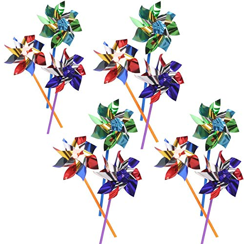 Assorted Brightly Coloured Foil Windmills Ideal for Beach Perfect in Garden to Scare the Birds Party use