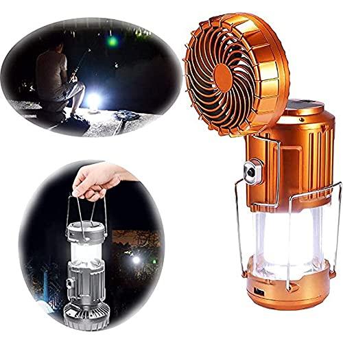 MISS YOU Luz de Ventilador eléctrica Solar al Aire Libre, 2021 Nuevo 6 en 1 Linterna de Campamento LED al Aire Libre portátil con Ventilador, 3 métodos de Carga, Impermeable telescópico