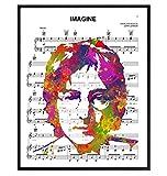 John Lennon Poster - 8x10 Beatles Wall Art Decor - Cool Unique Gift for Paul McCartney, Ringo Starr, George Harrison, 60s Music Fans - Imagine Sheet Music - Modern Pop Art Picture Print