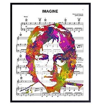 John Lennon Poster - 8x10 Beatles Wall Art Decor - Cool Unique Gift for Paul McCartney Ringo Starr George Harrison 60s Music Fans - Imagine Sheet Music - Modern Pop Art Picture Print