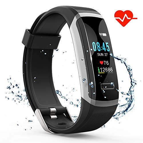 Akuti Fitness Tracker HR, Fitness Watch with Heart Rate Monitor, Activity Tracker, Sleep Monitor, Step Counter Calories Watch, IPX7 Waterproof Smart Wristband Pedometer for Kids, Women and Men