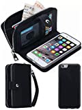 HYSJY iPhone 6/6SWallet Case, Girls Women Magnets Detachable Zipper Wallet Case iPhone 6/6S Cover PU Leather Folio Flip Holster Carrying Case Card Holder for iPhone 6 /6S 4.7' (Black)
