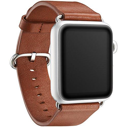 """KAVAJ Echtleder-Armband """"Barcelona"""" geeignet für Apple Watch Series 5,4,3,2 & 1 44 & 42 mm Cognac. Lederarmband aus echtem Leder als ideales Zubehör für Damen und Herren"""