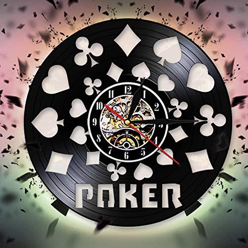 YINU Poker Dekorative Wanduhr Modernes Design Vinyl Schallplatte Wanduhr Quarz Zeituhr 3D Wanduhren Kreative Wandkunst Dekor