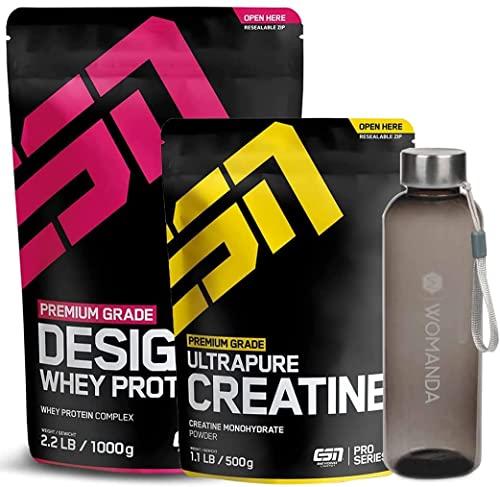ESN Designer Whey 1000 g + ESN Ultrapure Creatin 500 g (banana + bottiglia da donna)