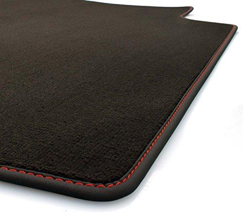 kh Teile Kofferraummatte (Velours), passend für Q3/RSQ3 (8U), ohne Varioschiene, Premium Qualität Kofferraummatte, Nubuk schwarz mit roter Ziernaht (S- Line Design)