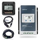 EPEVER 40A MPPT Regulador de Carga Solar 12V/24V Regulador Inteligente de Carga Solar con Medidor Remoto MT50 y Sensor de Temperatura y Cable RS485 - Set Tracer 4210AN