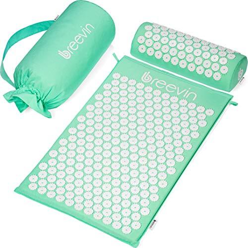BREEVIN Akupressurmatte mit Kissen - Akupunkturmatte gegen Rückenschmerzen Löst Verspannungen Fördert Durchblutung - Fakirmatte-Set inkl. Tragetasche (Minzgrün)