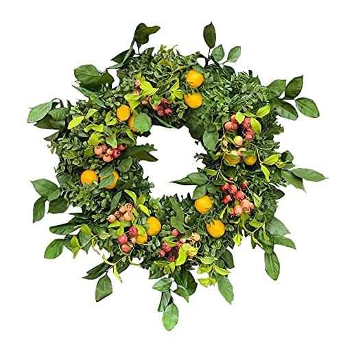 ZCFGUOI Ghirlanda estiva di frutta rossa limone, ghirlanda di limone artificiale, decorazione per la casa per interni ed esterni, porta d'ingresso primaverile, estate, finestra, parete della casa