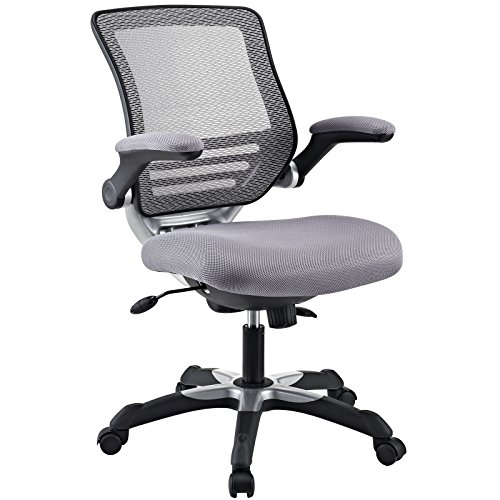 Modway Edge Mesh Back and Mesh Seat Office Chair In Black With Flip-Up Arms in Gray