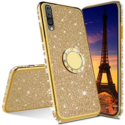COTDINFOR Samsung Galaxy A50 Funda para Regalo Niña Mujer Glitter Diamond Bling Protectora Silikon Plating TPU Case con Kickstand Carcasa para Samsung Galaxy A50 -Gold Glitter.