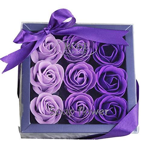 Wmas Jabón Caja de Regalo Flor, Aceite Esencial de Flor de la Planta púrpura jabón Cuadro Actual se levantó de cumpleaños Regalo de Boda Día de la Madre Día de San Valentín Navidad 9 Flores