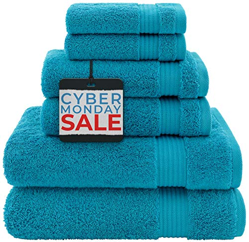 Hotel & Spa Quality, Absorbent & Soft Decorative Kitchen & Bathroom Sets, 100% Turkish Genuine Cotton 6 Piece Towel Set, Includes 2 Bath Towels, 2 Hand Towels, 2 Washcloths - Ocean Aqua