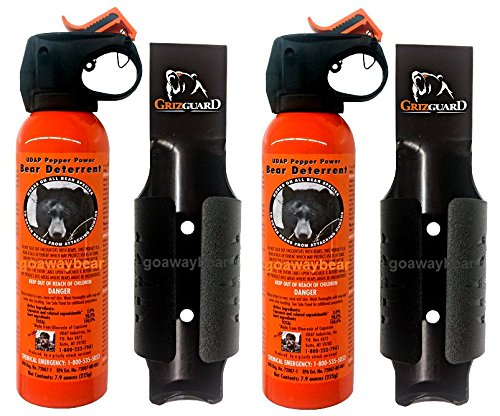 Udap Safety Orange Bear Spray Deterrent with Griz Guard Holster 2 Pack