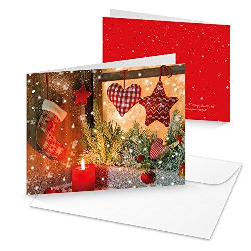 10 stuks kerstkaarten Kerstmis venster rode kaars Kerstmis Kerstmis Kerstmis met CUVERT 1a wenskaart ZONDER TEXT blanco leeg wenskaart