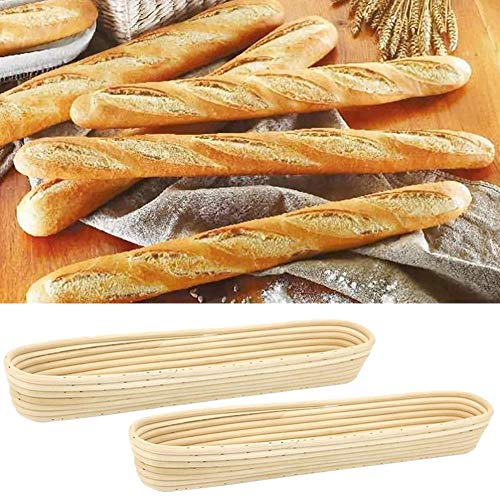 Canasta de fermentación de Pan de 2 Piezas, Canasta de fermentación de Masa Madre de ratán Natural, en Forma de Baguette, con Forro de Tela, para panaderos caseros