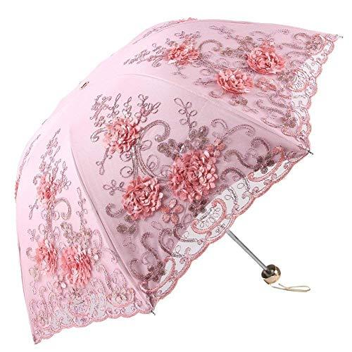 Ladies Regenschirm Klapp Schirm,Vintage Spitze Sonnenschirm Faltung 3D Blume Stickerei Schirm,Regen Vorbeugung und UV-Schutz,Enthält Regenschirmtasche (Rosa)