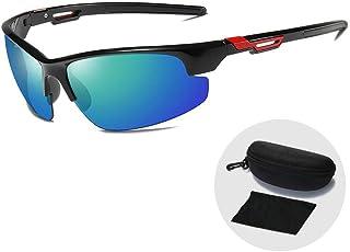 FRGTHYJ - FRGTHYJ Gafas Gafas de Sol Deportivas ultraligeras para Exteriores Gafas de Sol polarizadas clásicas para Hombres Gafas de conducción UV400 Gafas con Estuche con Cremallera Gafas Negras y Verdes para