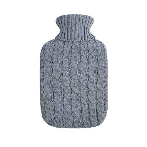 Bouillotte de haute qualité en caoutchouc naturel 1.8 litres avec couvercle tricoté fin et tressé en gris foncé - nouveau modèle - TÜV testé