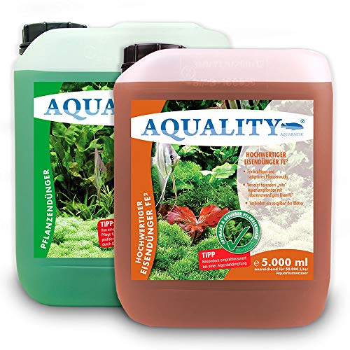 AQUALITY Aquarium 2er Pflanzenpflege Sparset (Enthält Pflanzendünger mit Allen wichtigen Spurenelementen und Mineralien und Eisendünger mit zweiwertigem Eisen FE2), Set-Größe:Set 5000