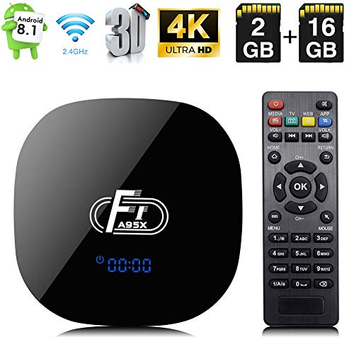 Android TV Box, A95X F1 Intelligente Android 8.1 Box Amlogic S905W Vierkern Cortex-A53 CPU 2GB RAM 16GB ROM unterstützt 2.4 GHz WiFi 3D 4K HDMI 2.0 100M LAN Ethernet