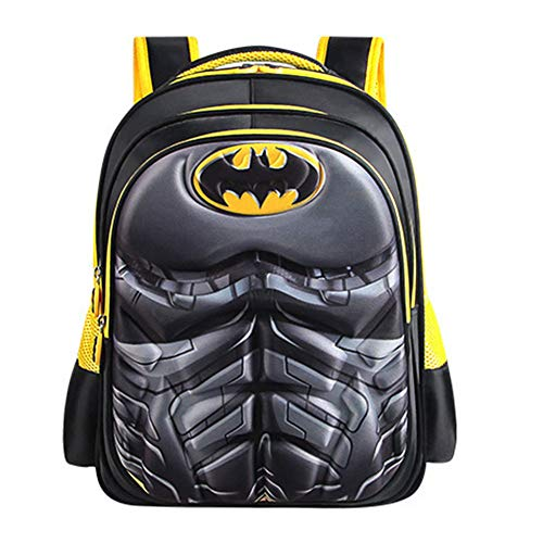 CLOUD Student 3D School Bag Cartoon Anime Kids Travel Backpack Boys Batman Rucksack Black Yellow- Large 32 * 20 * 43cm