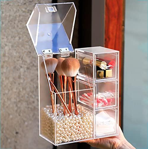 QQDL Caja Joyero,Caja para Joyas,joyero Caja,Plástico,cajón silencioso,Impermeable y a Prueba de Humedad,Organizador de Joyas,Transparente y Visible,para Anillos,Pendientes,Pulseras y Collares,