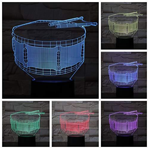 Nur 1 Stück Snare Drum Usb 3d LED Nachtlicht Multicolor Rgb Jungen Kind Kinder Baby Geschenke Musikinstrument Luminaria Tischlampe Nachttisch