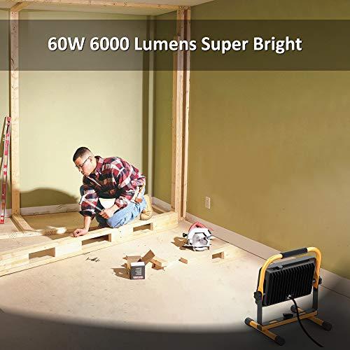 Novostella LED Baustrahler 60W 6000LM (Ersetzt 450W) LED Arbeitsscheinwerfer Baulampe, IP65 Wasserdicht 3030 LED 5M Kabel 6000K Tageslichtweiß, Bauscheinwerfer für Werkstatt Baustelle Garage - 2