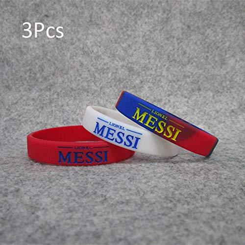 Wanjun Pulsera Material De Silicona Pulsera Fútbol Pulsera Fanático del Fútbol Pulsera No.10 Messi (3Pcs) Blanco Luminoso