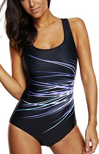 CharmLeaks Damen Einteiler Figuroptimizer Sport Badeanzug Vershiedene Farben 3300 Violett 38