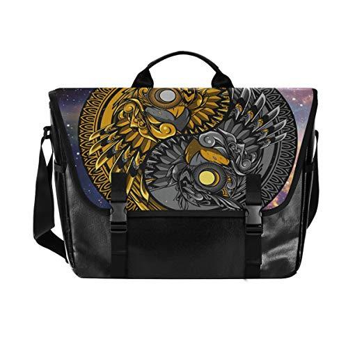Messenger Bag - Galaxy Owl Waterproof Canvas Leather Computer Laptop Bag 15.6 Inch Briefcase Shoulder Bag with Padded Adjustable Shoulder Strap