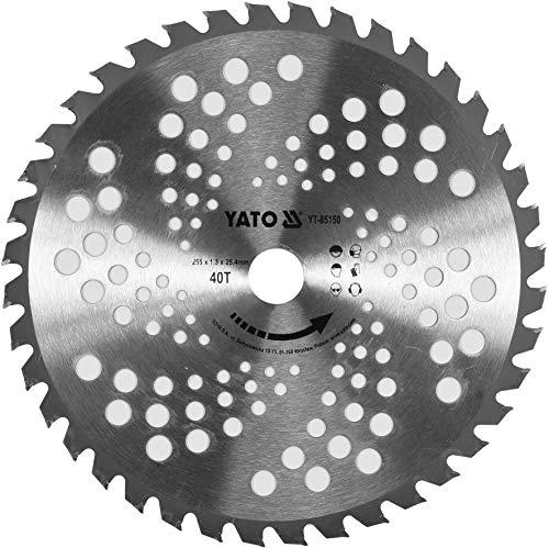YATO Hoja de sierra profesional para desbrozadora, diámetro 255 mm (25,5 cm), alojamiento: 25,4 mm, 40 dientes, de metal duro sólido, estable y duradero, cortador de césped, cortador circular