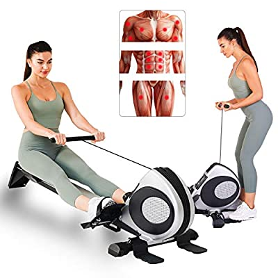 Kamots Beauty Magnetic Rowing Machine Full Body Training Quiet Adjustable Resistance Rower Indoor Fitness Workout w/LCD Monitor Foldable Exercise Equipment for Home Use, R60 (Silver)