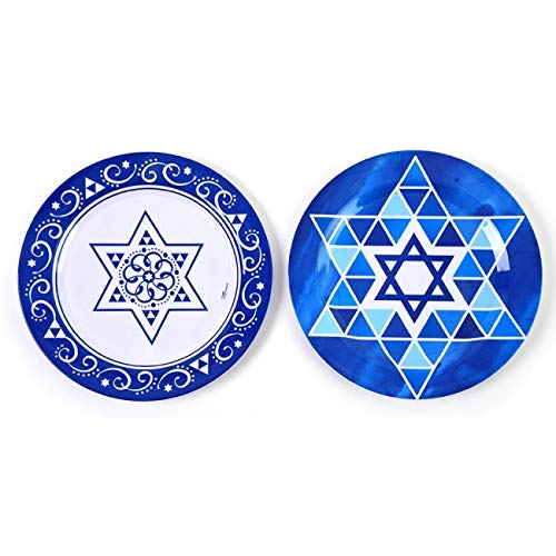 Hanukkah Melamine Plastic Plates by FLOMO for Dinner, Kitchen, Dining Room and Appetizers