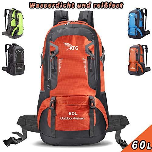 kfg Rucksack Wasserdicht 60L Camping Rucksack Wanderrucksack Laufen Radfahren im Freien (Orange)