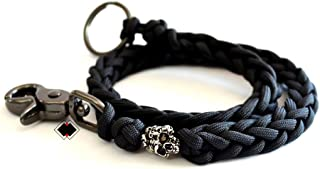 Mind Skull tactical paracord wallet key chain lanyard made in USA - BLACK