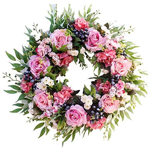 Katigan 55cm Rose Wreath, Large Rustic Farmhouse Decorative Artificial Flower Wreath, Faux Floral Wreath for Front Door Window Wedding Outdoor Indoor