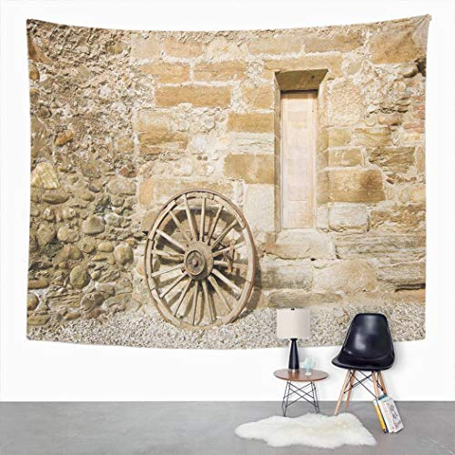 Y·JIANG Country Tapestry, Country Barn Wood Wagon Wheel Pale Brown Home Dorm Decorative Large Tapestry, Wide Wall Hanging Blanket for Living Room Bedroom, 80 x 60 inches