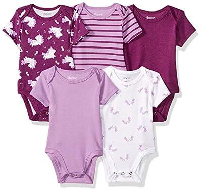 Hanes Ultimate Baby Flexy 5 Pack Short Sleeve Bodysuits, Purple Fun, 6-12 Months