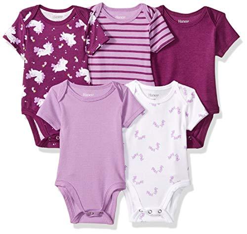 Hanes Ultimate Baby Flexy 5 Pack Short Sleeve Bodysuits, Purple Fun, 0-6 Months