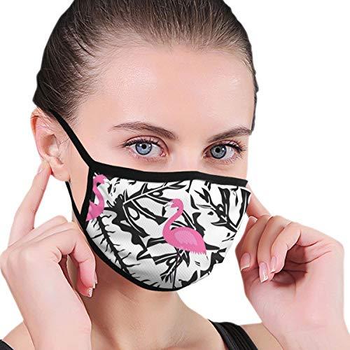 Gesichtsmaske mit Flamingo-Muster, Schwarz und Weiß