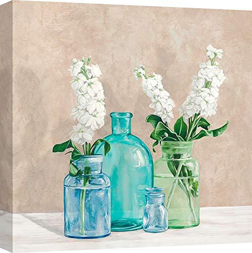 ART PRINT CAFE' – Cuadro en Canvas, Shabby-Chic, impresión sobre Lienzo - Jenny Thomlinson, Composición de Flores en jarrones II - 50X50 cm