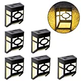 Solar Fence Lights, Solar Wall Lights Outdoor Decoration for Deck, Fence, Patio, Front Door, Yard and Driveway Path, Warm White, Pack of 6