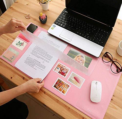 Multifunktionale Schreibtischunterlage mit transparenter Abdeckung, Einstecken Notizen Mausunterlage mit Taschen, Wasserdichte Tischauflage Mauspad, Schreibtischmatte Tischschutz, Rosa