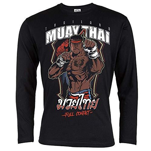 Rule Out Artes Marciales Camiseta de Manga Larga. Muay Thai. Thailand. Full Contact. Hombre Casual Wear (Talla Xxlarge)