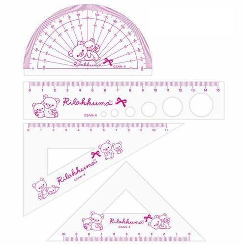 San-X Set reglas estuche semicírculo escuadra cartabón regla oso Rilakkuma: Amazon.es: Juguetes y juegos