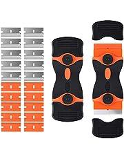 Flitronic Glasskopkniv med 20 reservrengöringsverktyg för rakhyvel för rengöring av etiketter, dekaler, klistermärken, tätning, färg från glas, spishäll, undergolv