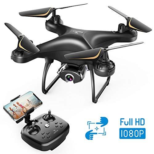 Drone con telecamera con viste migliori: la telecamera FHD 1080P cattura foto aeree e video 1920 X 1080 @ 25fps in maniera nitida. Con 120 °FOV e angolo regolabile design a 90°, puoi cogliere ogni momento della tua avventura da una prospettiva a volo...